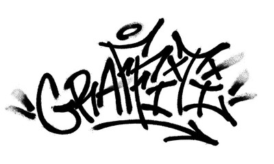 Poster Graffiti Sprayed graffiti font with overspray in black over white. Vector illustration.