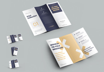 4 Mockup Set of Tri Fold Roll Brochures
