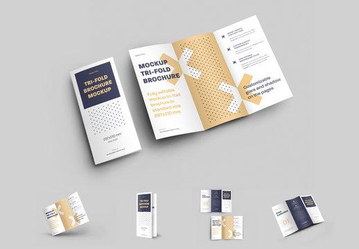 4 Mockup Set of  Tri Fold Roll Brochures