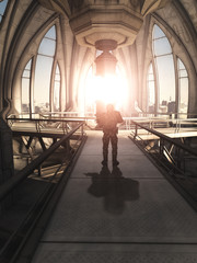 Science fiction illustration of a soldier standing guard inside a new power source in a future city power-station building, 3d digitally rendered illustration