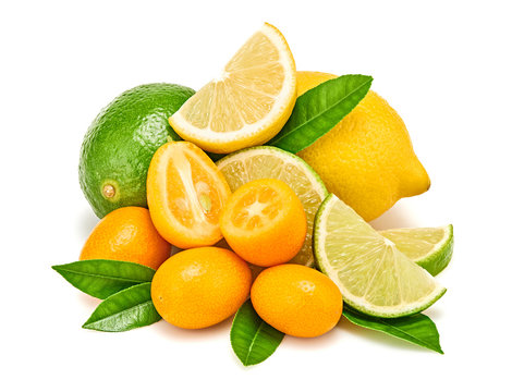 Citrus fruit collection, lemon, lime, orange kumquat, slices isolated on white. Juicy healthy vitamin C clean eating food. Organic whole, cut citrus fruits, clipping path. Full depth of field