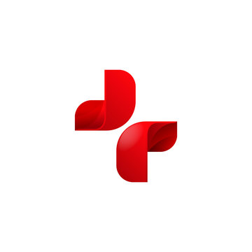 Abstract 3d symmetry beautiful red cross logo template vector