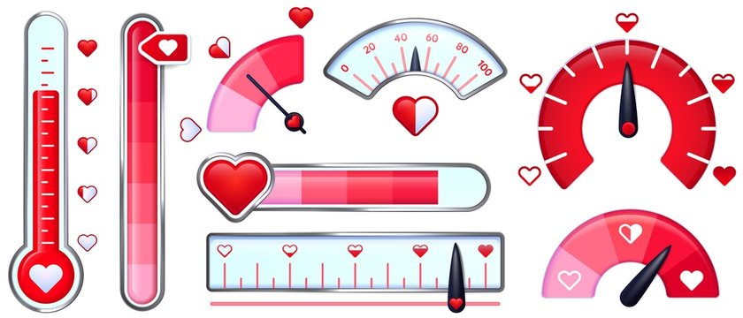 Love meter. Valentines Day card, love indicator with red hearts and love thermometer. Red heart meters vector set. Collection of analog attraction and passion scales, gauge for romance measurement.