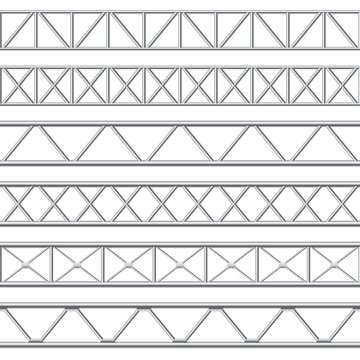 Metal truss girder. Steel pipes structures, roof girder and seamless metal stage structure vector illustration set. Collection of realistic polished iron or aluminium fences, barriers or railings.