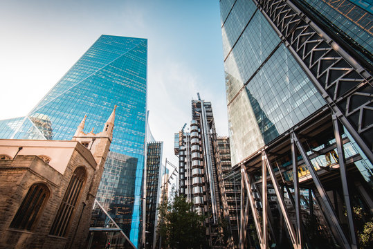 From left to right - St Andrew Undershaft Church, The Scalpel, Lloyd's of London, Leadenhall Building