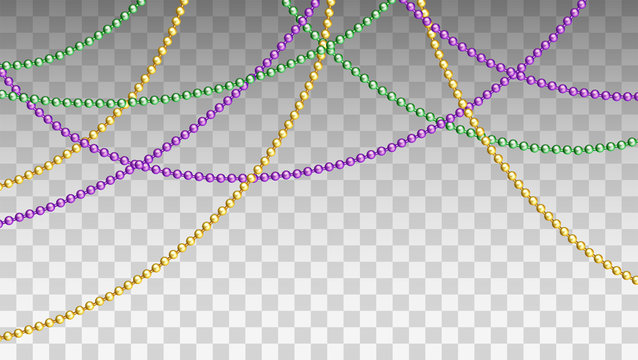 Vector illustration of Mardi Gras beads in traditional colors. Decorative glossy realistic elements for design Mardi Gras. Beads Isolated on transparent background.