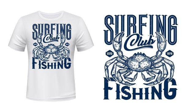Ocean surfing club t-shirt print, crab animal, vector navy blue template mockup. Sea surfing sport club team emblem