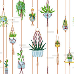Green macrame house plant seamless pattern