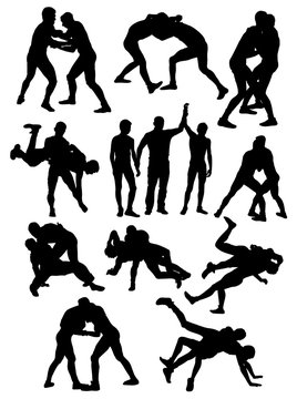 silhouettes of Greco Roman wrestling athletes vector