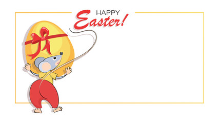 Easter background, greeting card. Easter egg and funny little mouse. Happy easter. Christ is risen. Vector illustration isolated on white background with place for text.