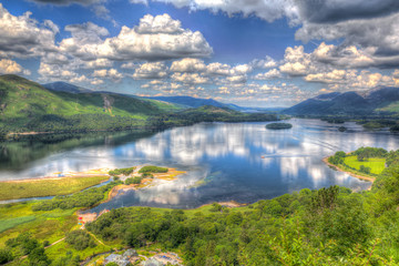 Derwent Water Lake District National Park Cumbria England uk with reflections and clouds in HDR