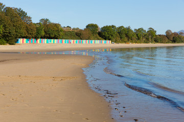 Wall Mural - Llanbedrog beach Llyn peninsula Wales between Pwllheli and Abersoch with colourful beach huts