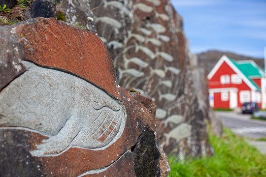 Wales sculpted in stone on Qaqortoq. Greenland