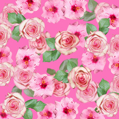 Wall Mural - Beautiful floral background of pink hibiscus and roses. Isolated