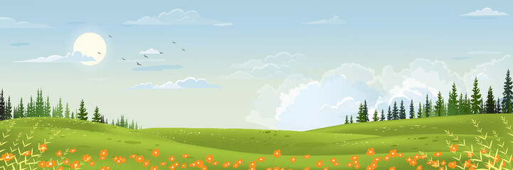 Spring landscape with mountain, blue sky and clouds,Panorama Green fields, fresh and peaceful rural nature in springtime with green grass land. Cartoon vector illustration for spring and summer banner