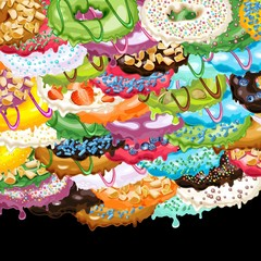 Abstract picture with variety of donuts with colorful glaze, sprinkles and toppings. Vector Illustration