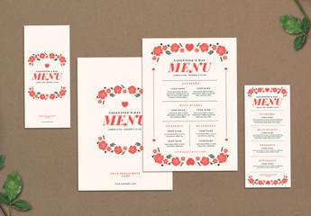 Special Valentine Diner Menu Layouts