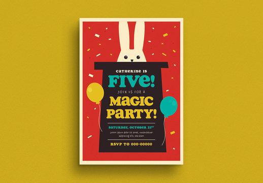 Magic Show Birthday Invitation Layout