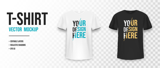 Black and white t-shirt mockup. Mockup of realistic shirt with short sleeves. Blank t-shirt template with empty space for design