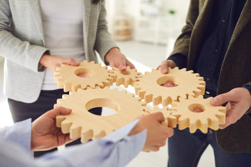 Business cooperation concept business team innovation strategy integration teamwork contract...