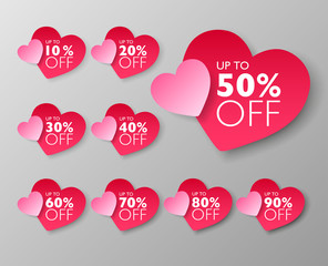50% off sale tags. Set of 10% through 90% off Pink heart shape labels for sale promotional marketing. Vector illustration.