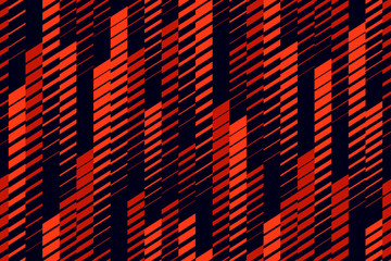 Photo sur Plexiglas Artificiel Vector abstract geometric seamless pattern with vertical lines, tracks, halftone stripes. Extreme sport style, urban art texture. Trendy background in bright colors, neon red, lush lava, black
