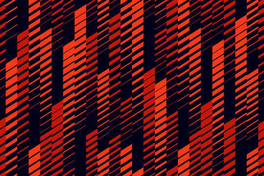 Vector abstract geometric seamless pattern with vertical lines, tracks, halftone stripes. Extreme sport style, urban art texture. Trendy background in bright colors, neon red, lush lava, black