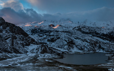 Sunrise over Peaks of Europe from Covadonga Lakes