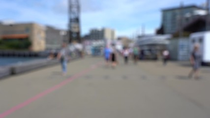 Fotomurales - Blur 4K video of Downtown Wellington City waterfront view in the capital of New Zealand