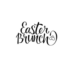 Easter brunch - hand written heading sign for cafe, restaurant, public place. Vector stock text isolated on white background. EPS 10