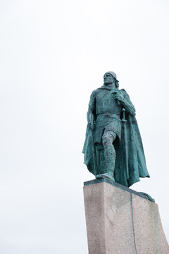 A majestic statue of Leif Erikson in Reykjavik, Iceland