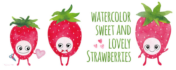 Watercolor Cartoon Strawberry Characters. Cute and Funny Berries with Eyes, Smile, Arms and Legs. Elements Isolated on White Background. Nice for Valentine's Day Cards, Best Wishes and Other.