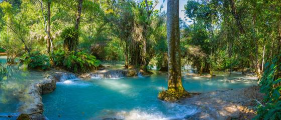 Aluminium Prints Forest river Kuang Si Waterfall, Luang Prabang, Laos