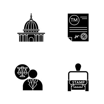 Notary services black glyph icons set on white space. Apostille and legalization. Trademark certificate. Supreme court. Lawyer, attorney. Stamp. Silhouette symbols. Vector isolated illustration