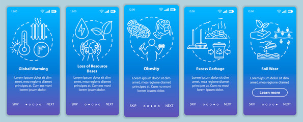 Overconsumption onboarding mobile app page screen with concepts. Global warming, soil wear. Consumerism walkthrough 5 steps graphic instructions. UI vector template with RGB color illustrations