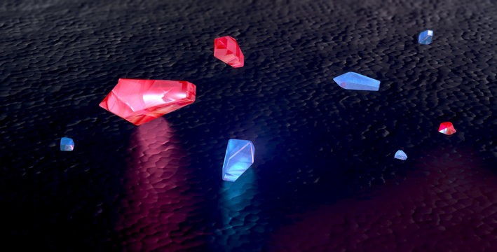 Red and blue gemstones background. Ruby, aqumarine, topaz, red diamonds on black background. 3d render