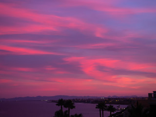 Photo sur Plexiglas Rose Beautiful, multi-colored clouds at sunset. Spain