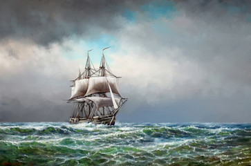 Paintings sea landscape. Fine art, old ship in the sea