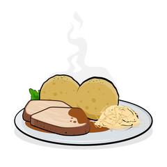 cartoon illustration of Illustration of a typical German dish roast pork called Schweinebraten
