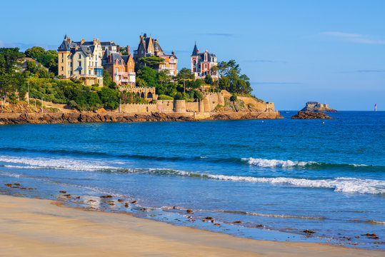 Sand beach and historical villas in Dinard, Brittany, France