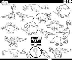 find two same prehistoric characters game color book
