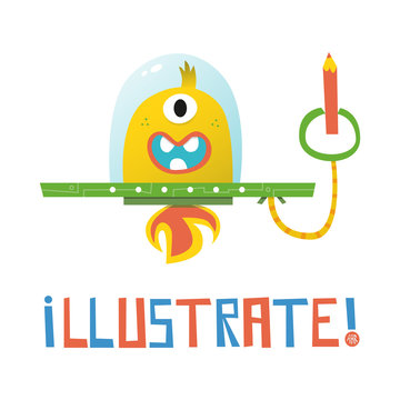Cute Space Alien Illustration about Illustrating, Drawing, Painting