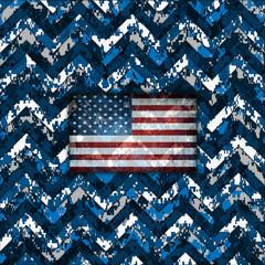 Blue Digital Camo Patriotic Chevrons American Flag