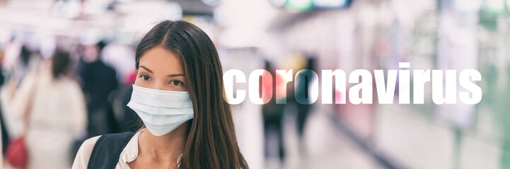 Photo sur Toile Akt Coronavirus Asian woman wearing flu virus mask prevention with text on banner.