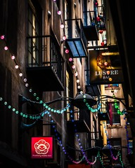 Melbourne, Victoria, Australia, December 21st 2019: Centre Place laneway in the city centre of Melbourne was multi colored string lights installed for the christmas season.