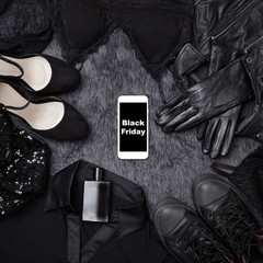 Black Friday Sale Fashion Background. Clothes Flat Lay with Shoes, Fragrance, Lingerie and Phone. Offer Shop Concept