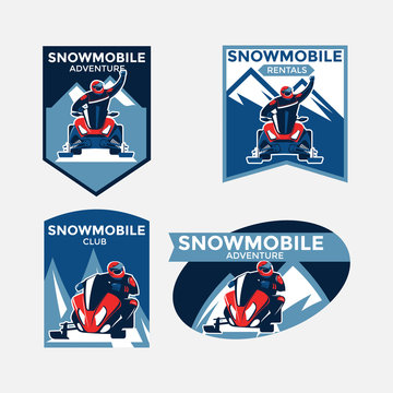Set of colorful modern winter snowmobile logo, emblems, badges and icons