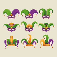 Set of Mardi Gras Jester Hat Vector Illustration