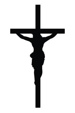 Jesus on cross silhouette vector