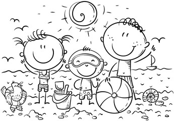 Wall Mural - Happy kids at the seaside, outline, vector illustration